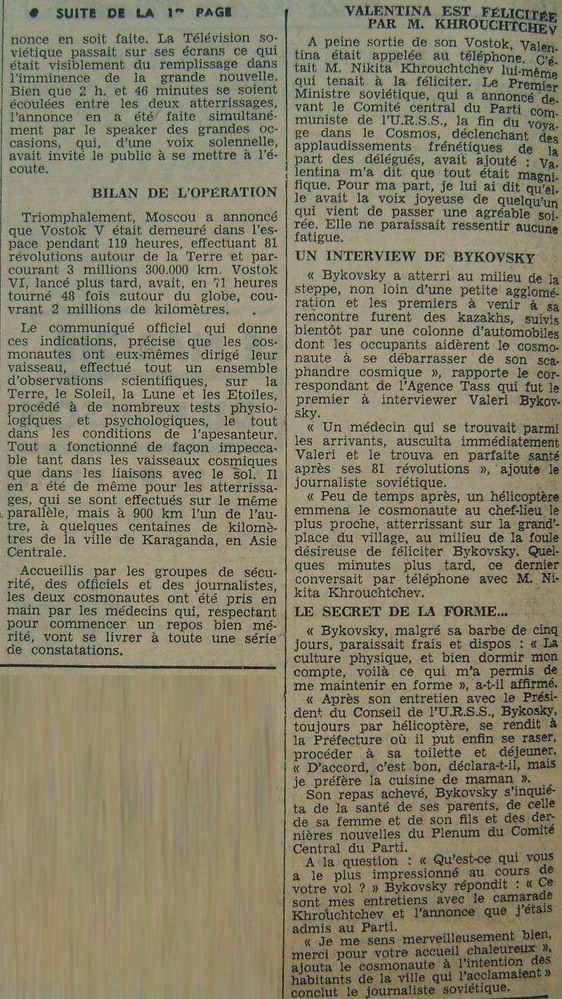 Vostok 5, Vostok 6 - 14, 16 juin 1963 - 1ers vols conjoints 63062111