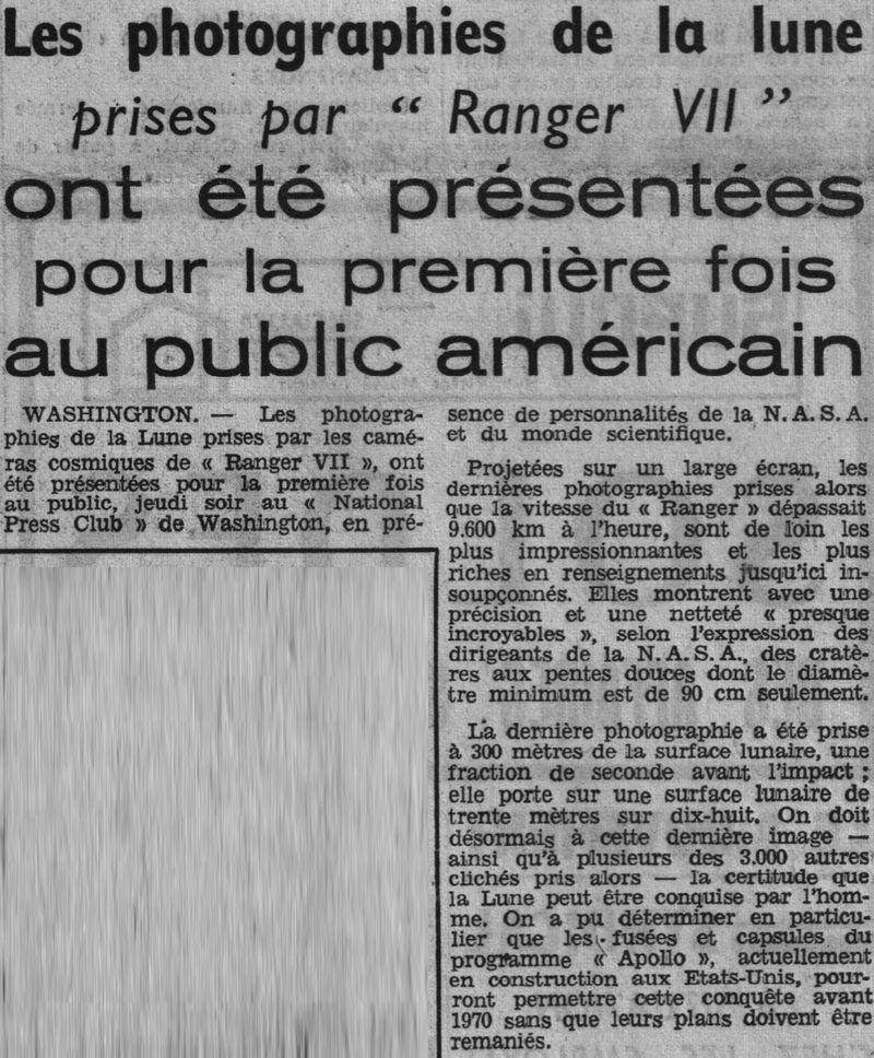 28 juillet 1964 - Ranger VII - 1ères photos rapprochées 64082210
