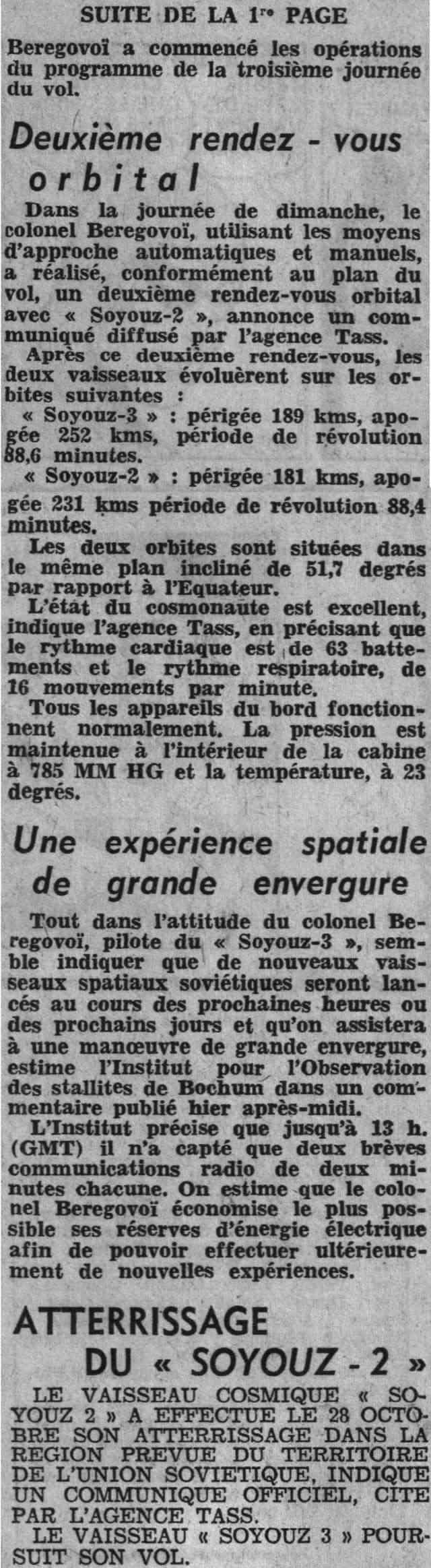 26 octobre 1968 - Soyouz 3 - Gheorghui Beregovoï 68102911