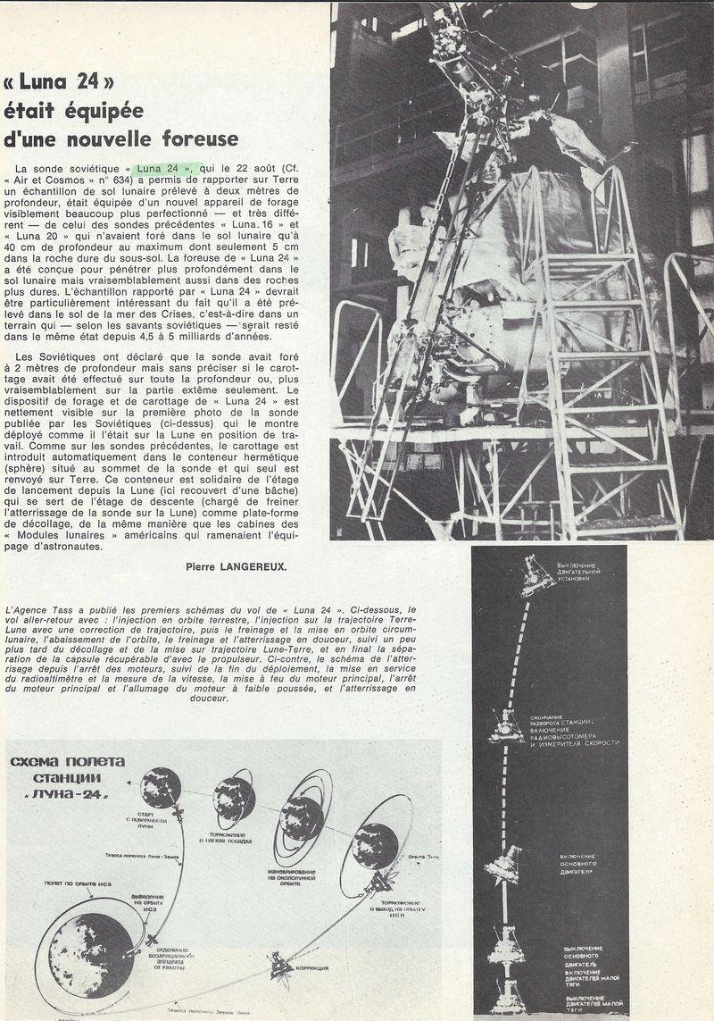 9 août 1976 - Luna 24 - Dernier retour échantillons lunaires 76090410