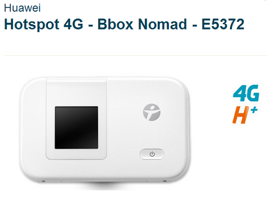 """Hotspot Bbox Nomad """"Huaweï 4G E5372"""" à 1€ Hot4g10"""