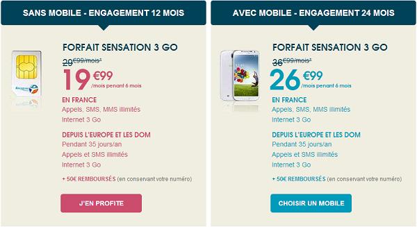 10€ pendant 6 mois sur l'offre Sensation et 30€ offert sur votre smartphone Ill-1010
