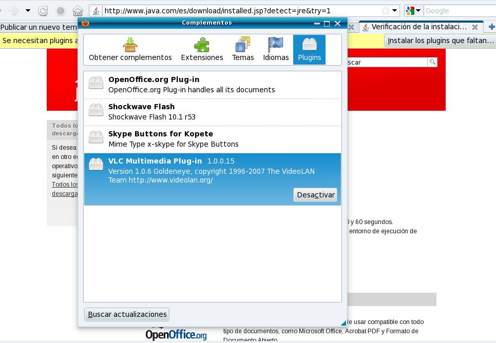No puedo instalar plugin de Java en Firefox y otros navegadores Instan11