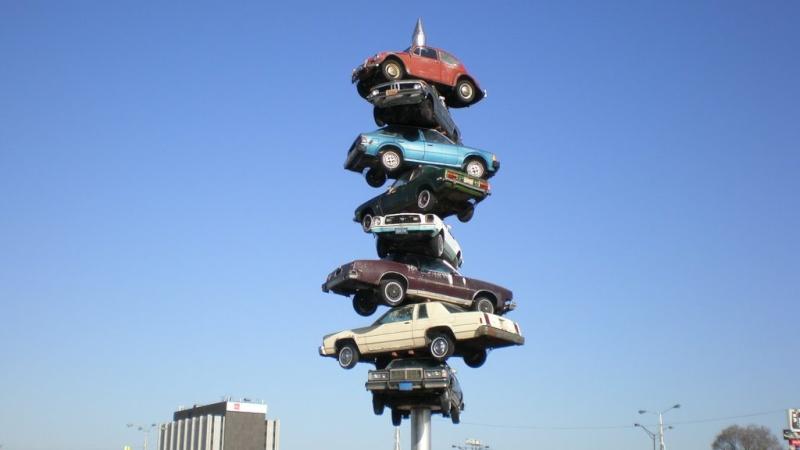 Spindle (brochette de voitures), Berwyn, Illinois - USA Voi110
