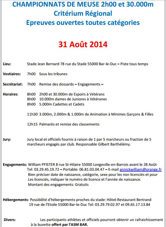 30.000M, 2h, etc. ; chpts de Meuse: 30 août 2014 30000m11