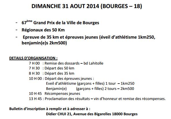 35 km  et 50 km de Bourges: 31 août 2014 Bourge10