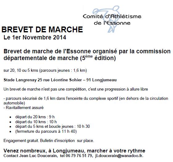 Brevets de l'Essonne; 20, 10, 5 km : 01/11/2014 Brevet10