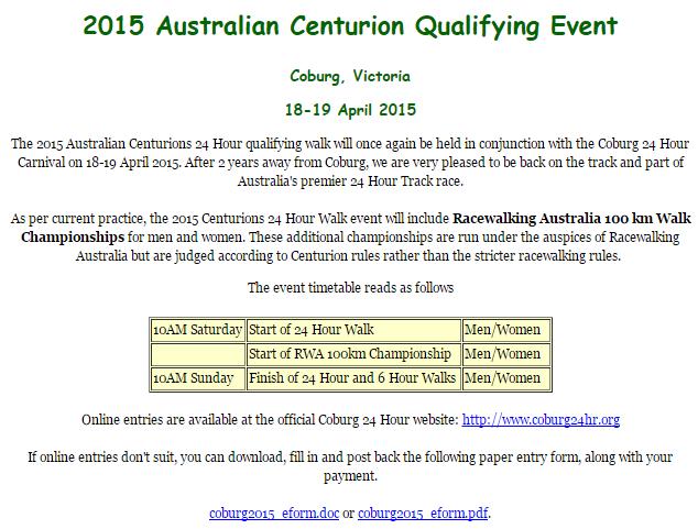 Australian Centurions 2015; 24h, 6h, 100km: 18-19/04/2015 Centau10