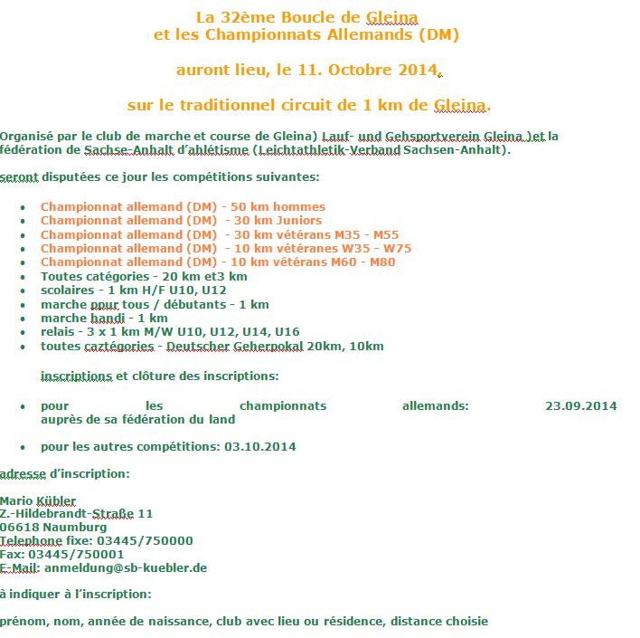 50km chpt All., 30km vét M, 20km, etc; Gleina(D): 11/10/2014 Gleina11