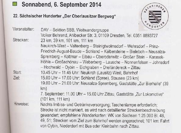 Sächsischer Hunderter (111, 101km): (D), 06-07 /09/ 2014 Sachis10