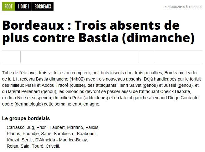 J4 / Jeu des pronos - Prono Bordeaux-Bastia S112
