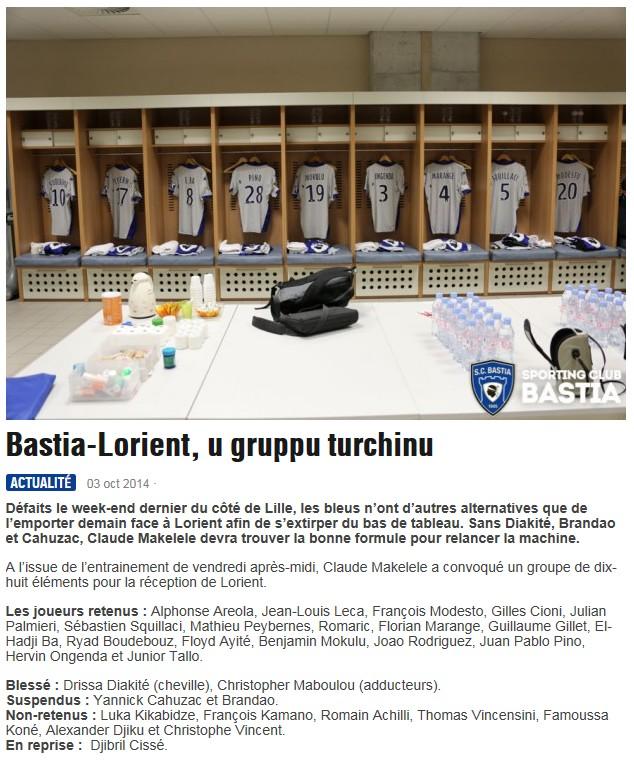 J9 / Jeu des pronos - Prono Bastia-Lorient S175