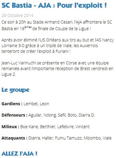 16CdL / Jeu des pronos - Prono Bastia-Auxerre S217