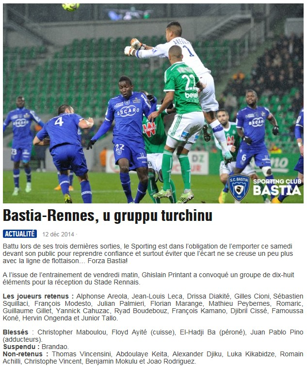 J18 / Jeu des pronos - Prono Bastia-Rennes S236