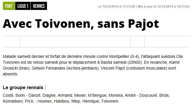 J18 / Jeu des pronos - Prono Bastia-Rennes S239