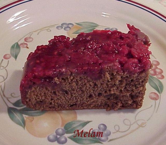 Gâteau pouding chocolat-framboises Poudin12