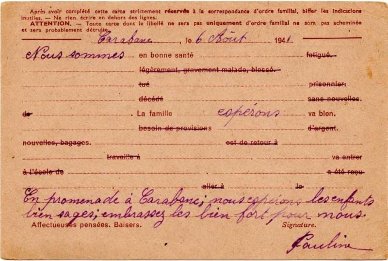 Utilisation des entiers Iris et Pétain et cartes interzones hors de France 1941_i11