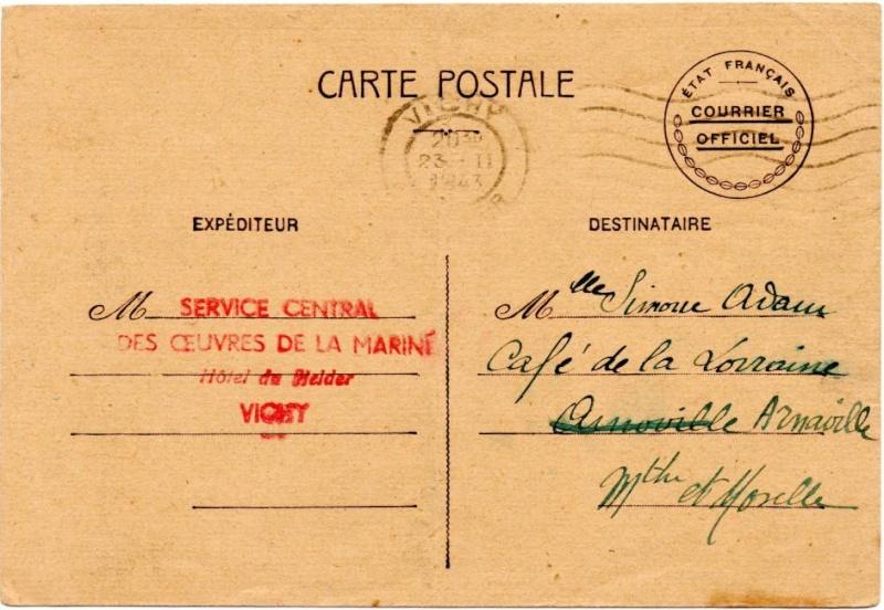 """Lettre de """"La Pêcherie"""" -Bizerte du 11.07.1940. 1943_v10"""