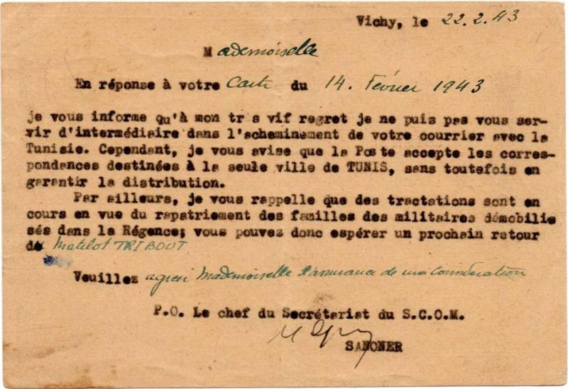 """Lettre de """"La Pêcherie"""" -Bizerte du 11.07.1940. 1943_v11"""