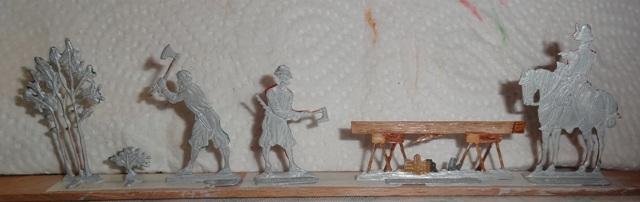 Zimmerleute beim Kirchenbau, Zinn, 30mm Figuren Dsc06323