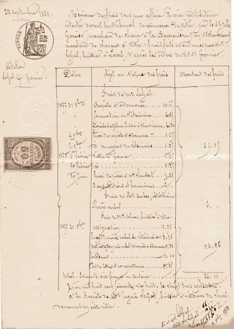 papier avec timbres fiscaux de Chailland de 18787 Papier10