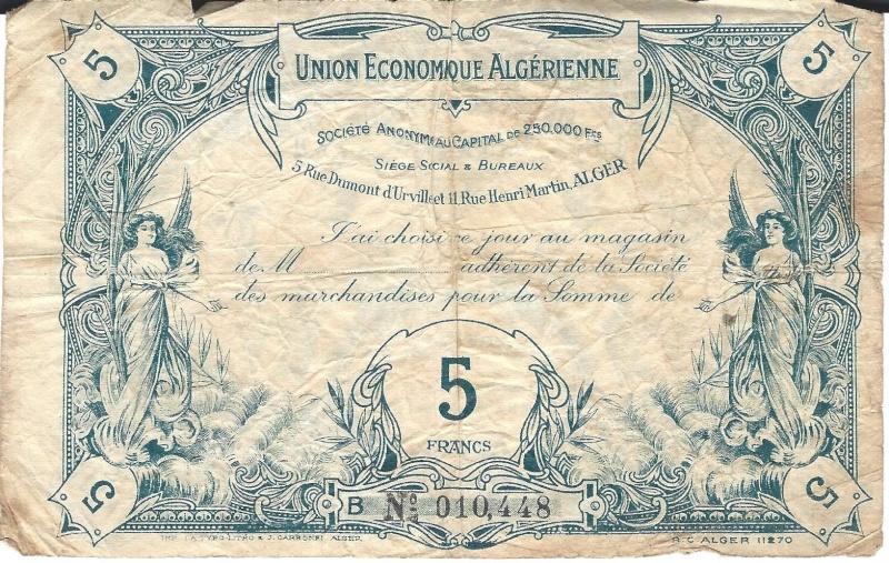 1,5 et 10 Francs Union économique oranaise et algérienne  Algérie  113