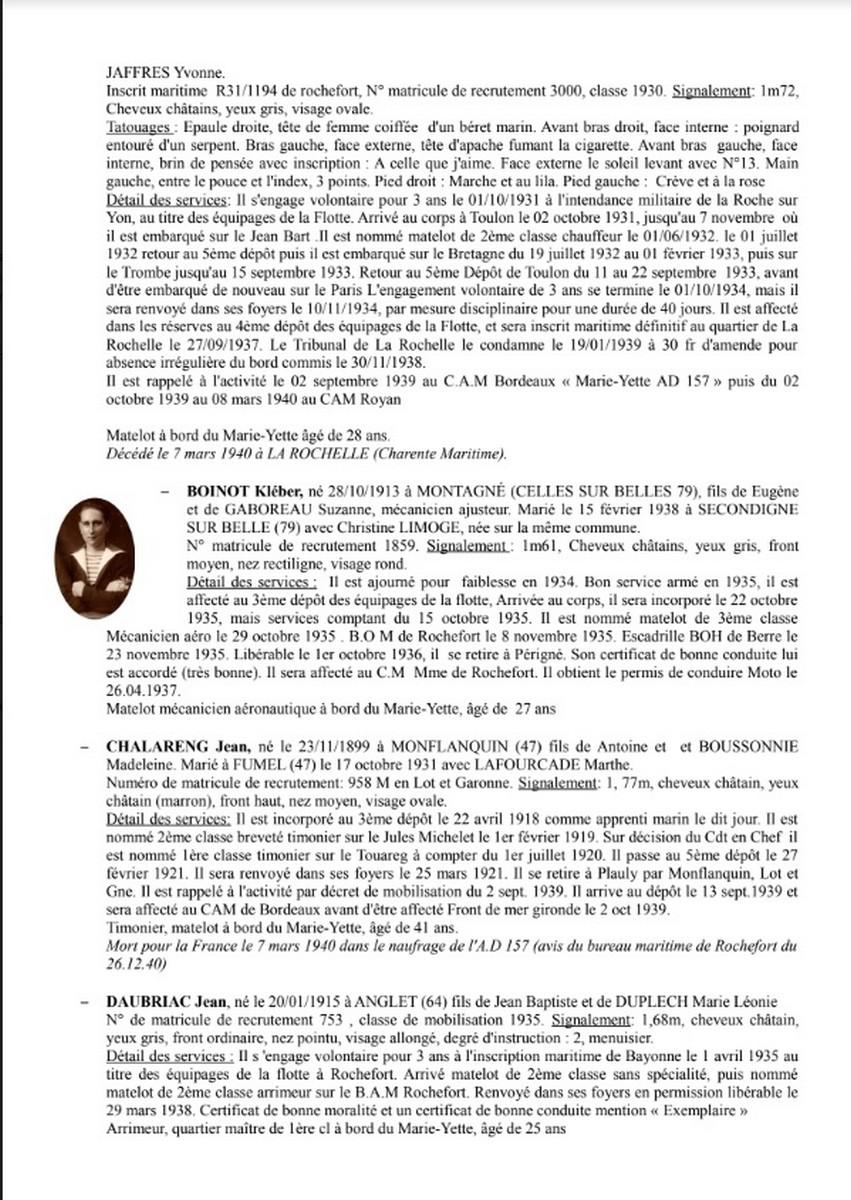 [ Histoires et histoire ] Naufrage du Chalutier Militaire AD 157 Marie-Yette en mars 1940. 1262
