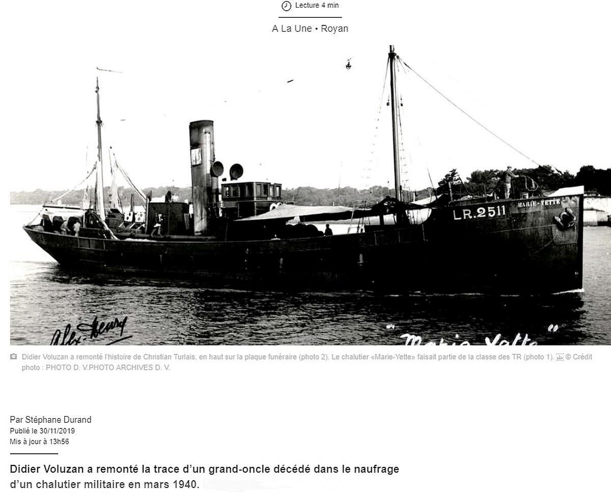 [ Histoires et histoire ] Naufrage du Chalutier Militaire AD 157 Marie-Yette en mars 1940. 1264