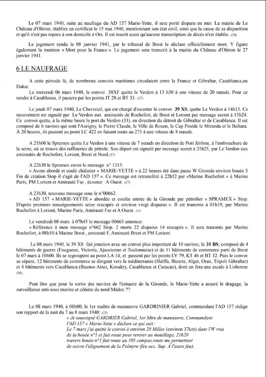 [ Histoires et histoire ] Naufrage du Chalutier Militaire AD 157 Marie-Yette en mars 1940. 567
