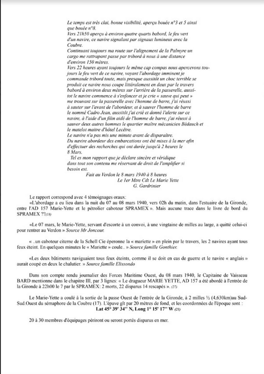 [ Histoires et histoire ] Naufrage du Chalutier Militaire AD 157 Marie-Yette en mars 1940. 636