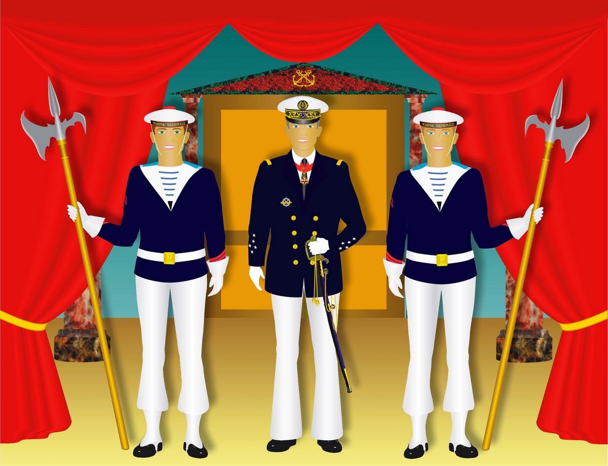 [LES TRADITIONS DANS LA MARINE] Planches dessins des grades et uniformes 733