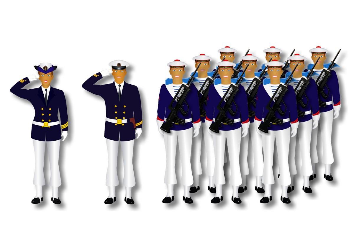 [LES TRADITIONS DANS LA MARINE] Planches dessins des grades et uniformes 835