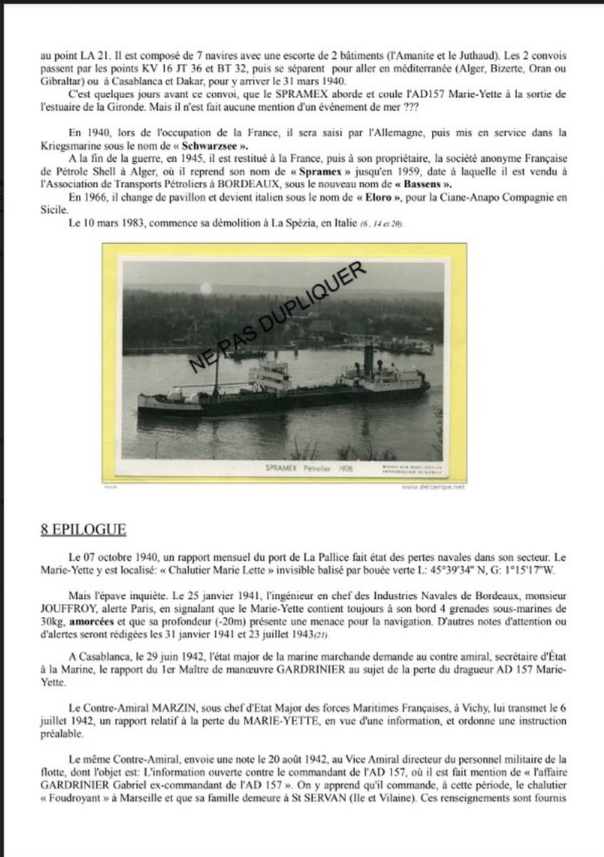 [ Histoires et histoire ] Naufrage du Chalutier Militaire AD 157 Marie-Yette en mars 1940. 932