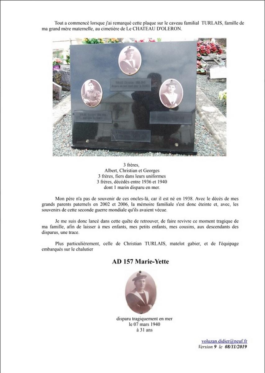 [ Histoires et histoire ] Naufrage du Chalutier Militaire AD 157 Marie-Yette en mars 1940. B58