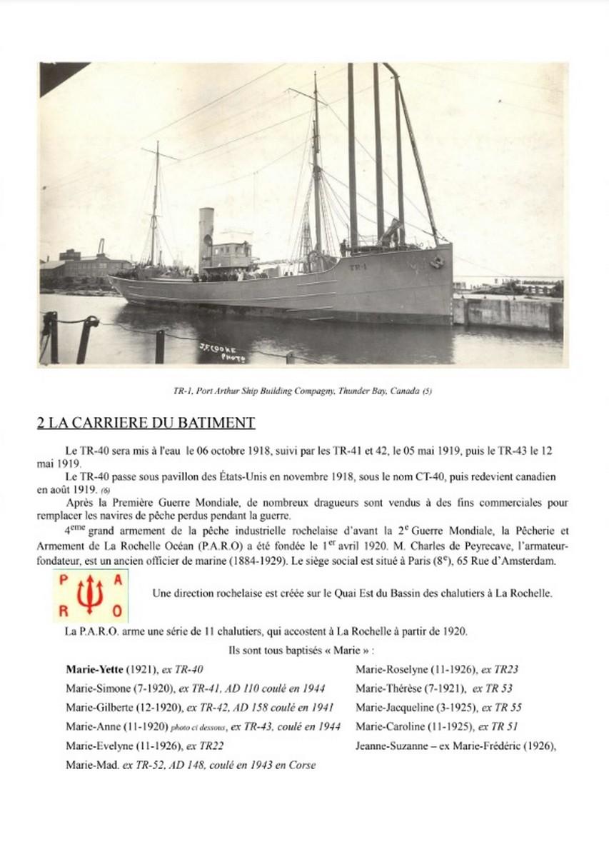 [ Histoires et histoire ] Naufrage du Chalutier Militaire AD 157 Marie-Yette en mars 1940. D27
