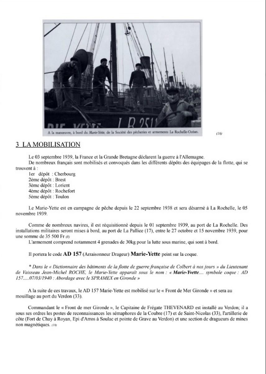 [ Histoires et histoire ] Naufrage du Chalutier Militaire AD 157 Marie-Yette en mars 1940. G11