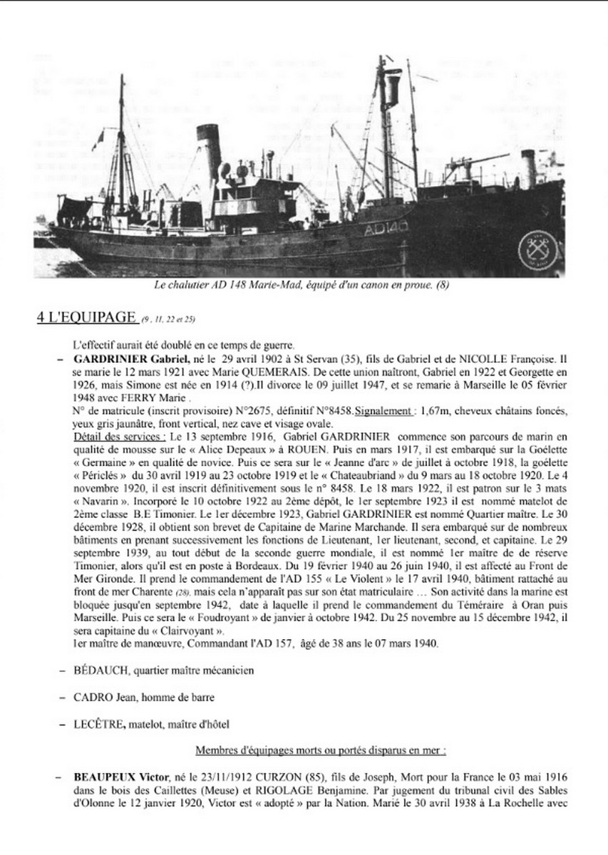 [ Histoires et histoire ] Naufrage du Chalutier Militaire AD 157 Marie-Yette en mars 1940. H11
