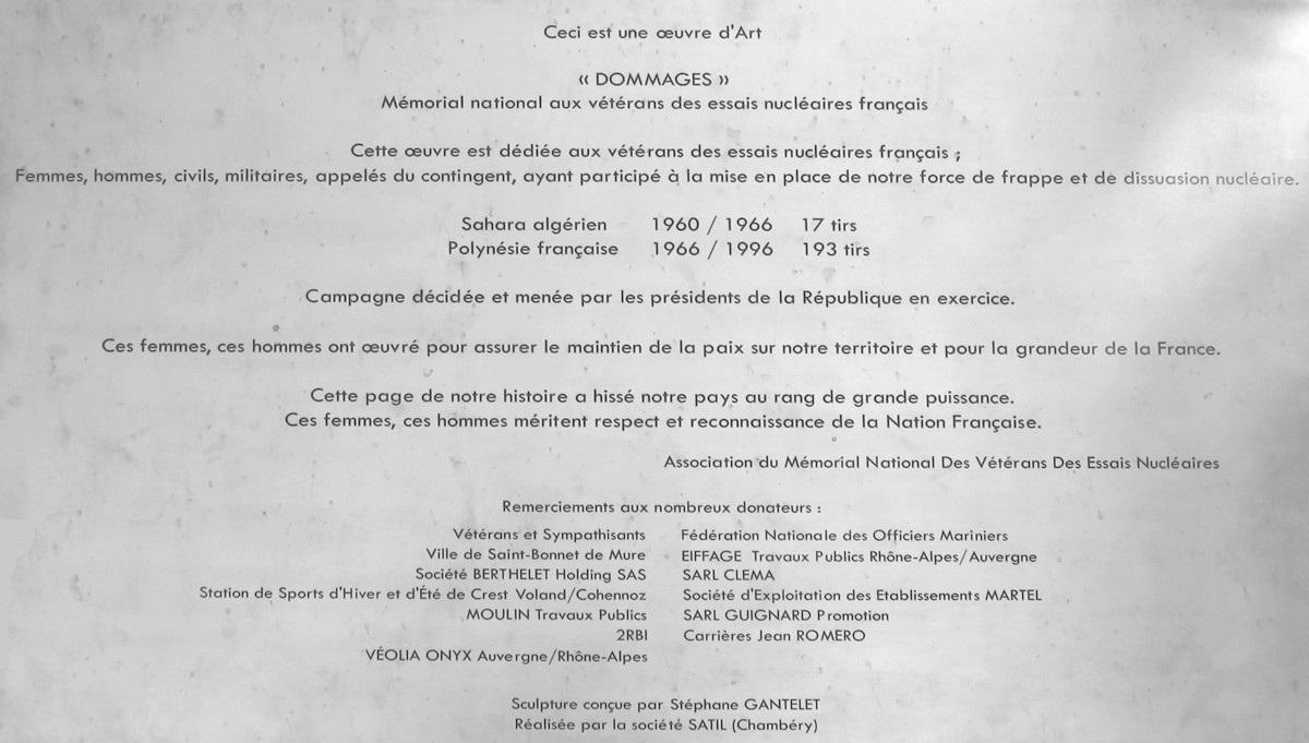 MÉMORIAL NATIONAL DÉDIÉ AUX VÉTÉRANS DES ESSAIS NUCLÉAIRES A SAINT-BONNET-DE-MURE (RHÔNE) Plaque11