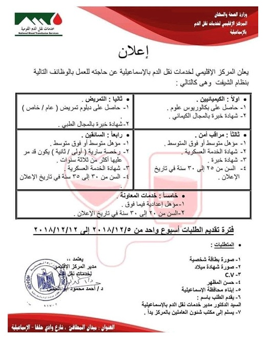 وظائف وزارة الصحة والسكان للمؤهلات العليا والدبلومات Iia-ay10