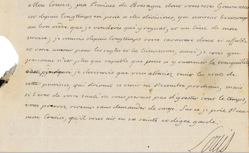 Lettres autographes et écrits de Louis XVI Captur70