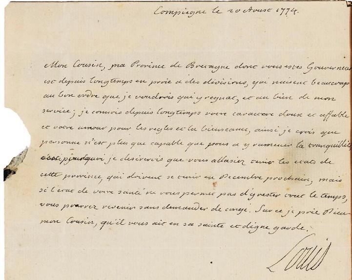 Lettres autographes et écrits de Louis XVI Captur71