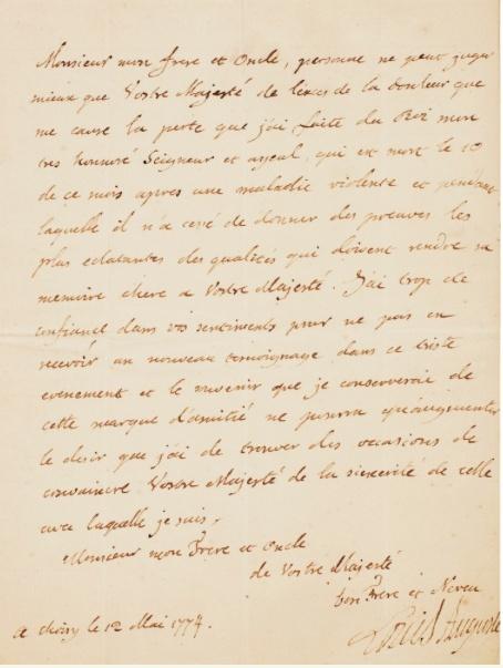 Lettres autographes et écrits de Louis XVI Captur73