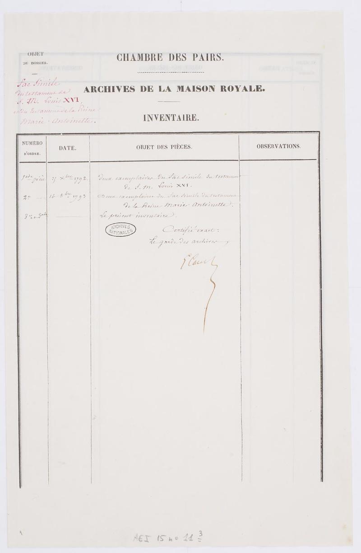 Testament / Lettre de Marie-Antoinette à Madame Elisabeth, le 16 octobre 1793 Dafan139