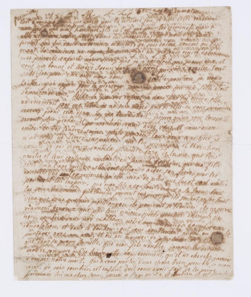 Testament / Lettre de Marie-Antoinette à Madame Elisabeth, le 16 octobre 1793 Dafan140