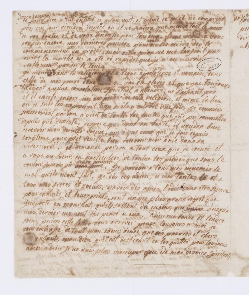 Testament / Lettre de Marie-Antoinette à Madame Elisabeth, le 16 octobre 1793 Dafan141