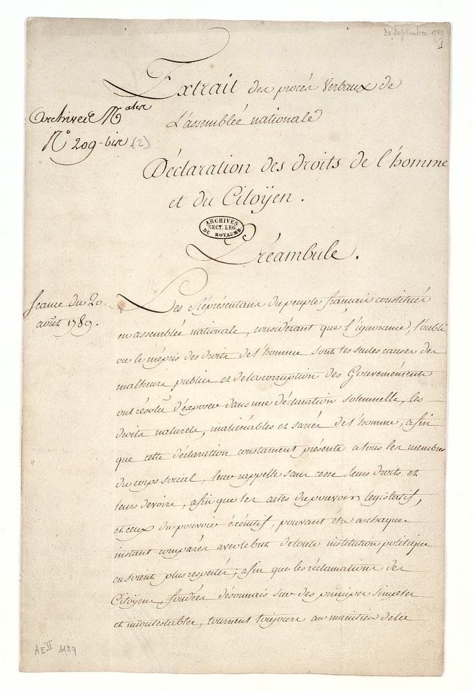 La Déclaration des Droits de l'Homme et du Citoyen Dafan143