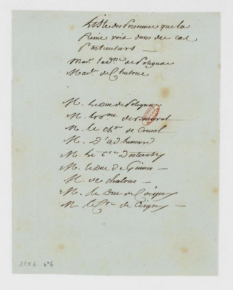 Liste des personnes reçues dans les cabinets de la reine Dafanc41