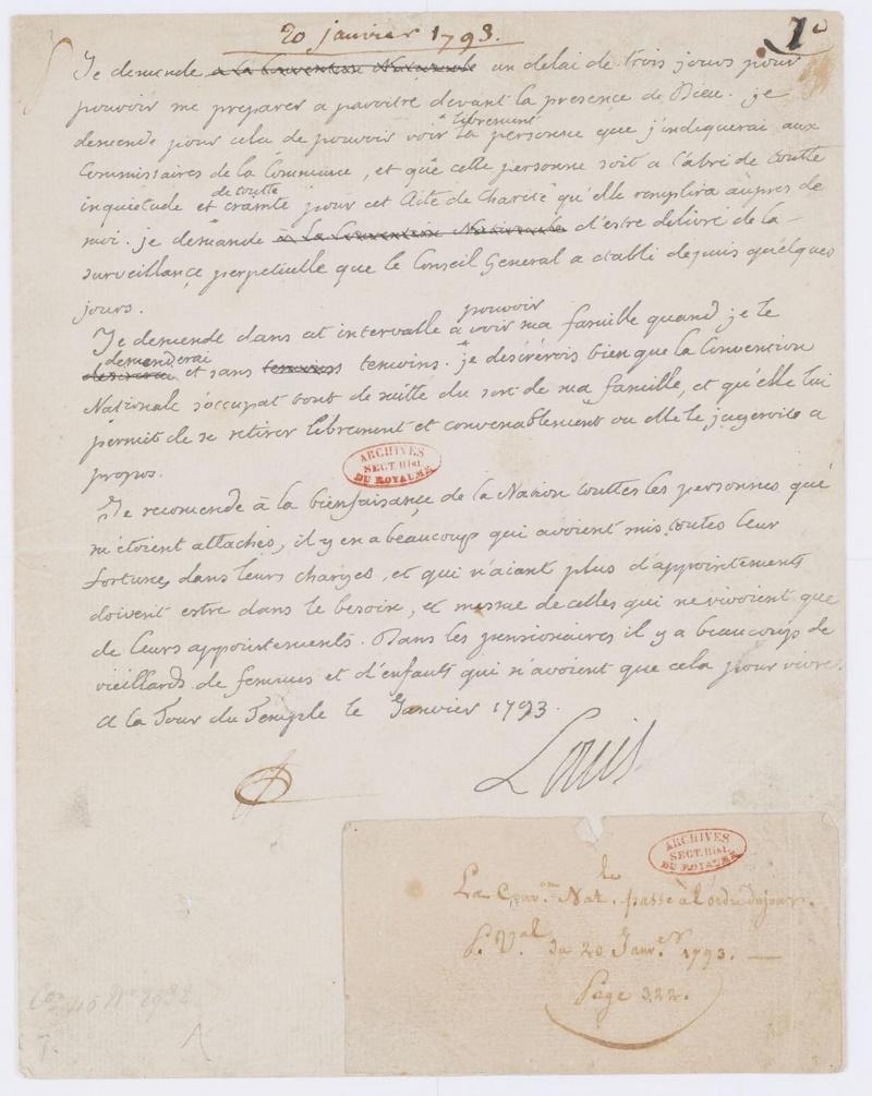 Lettres autographes et écrits de Louis XVI Dafanc46
