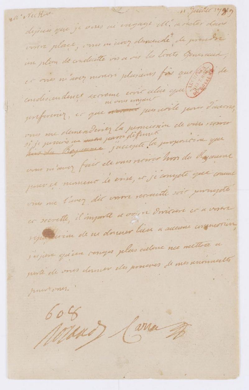 Lettres autographes et écrits de Louis XVI Dafanc60