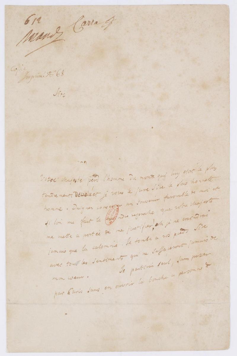 Lettres autographes et écrits de Louis XVI Dafanc61